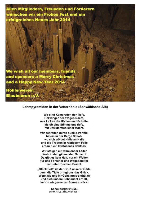 Höhlenverein-Blaubeuren e.V. - 24.12.2013 & Neujahrswünsche